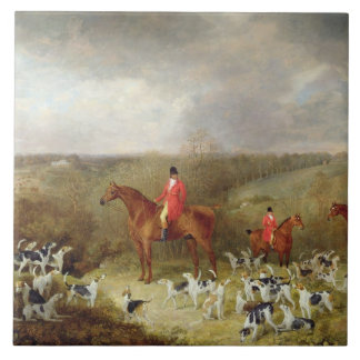 Lord Glamis and his Staghounds, 1823 (oil on canva Tile