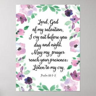 Lord God of my Salvation Psalm 88 Art Print