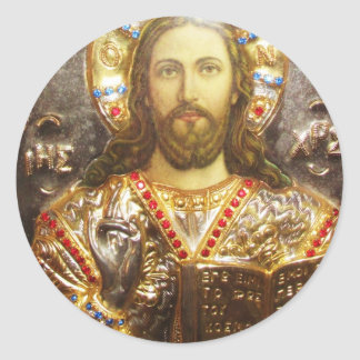 Lord Jesus Christ Orthodox Icon Round Sticker