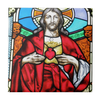 Lord Jesus Christ stained glass window Small Square Tile