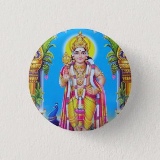 Lord Muruga, Hindu God 3 Cm Round Badge