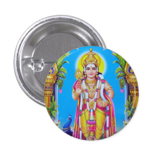Lord Muruga, Hindu God 3 Cm Round Badge