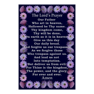 Lord's Prayer in a Nightblooming Cactus Frame Poster