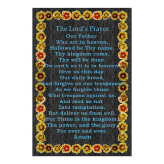 Lord's Prayer in a Prickly Pear Cactus Frame Poster