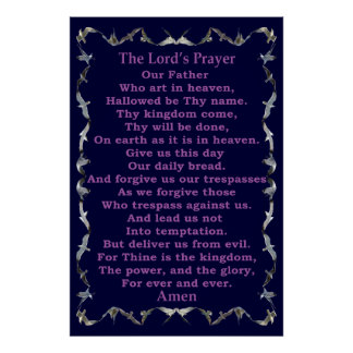 Lord's Prayer in Flying Seagull Border Poster