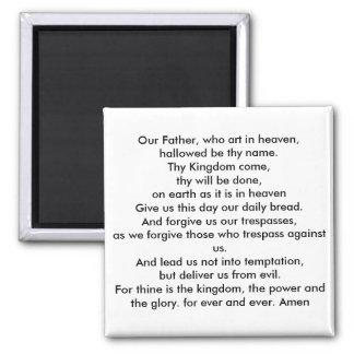 Lords prayer square magnet