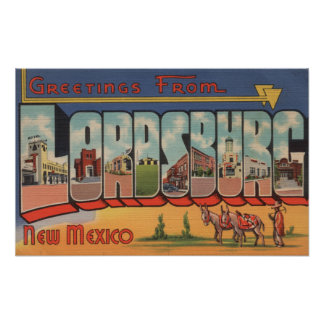Lordsburg, New Mexico - Large Letter Scenes Poster
