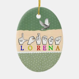 LORENA FINGERSPELLED ASL NAME SIGN CERAMIC ORNAMENT