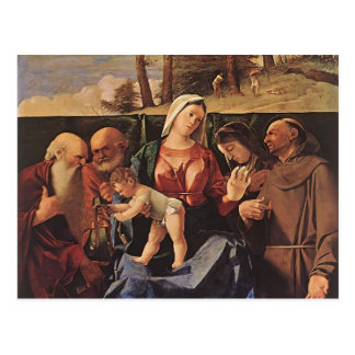 Lorenzo Lotto- Virgin and Child with Saints Postcard