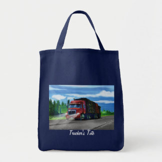 Lorry Driver Big Rig Heavy Trucker Art Grocery Tote Bag