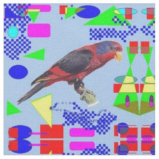 Lory/Lori/Lorikeet Red Bird Parrot blue abstract Fabric