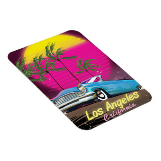 Los Angeles 1980s Retro Travel print Magnet