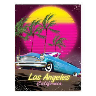 Los Angeles 1980s Retro Travel print Postcard