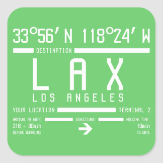Los Angeles Airport Code Square Sticker