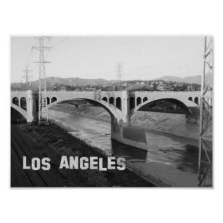 Los Angeles black and white Bridge Poster