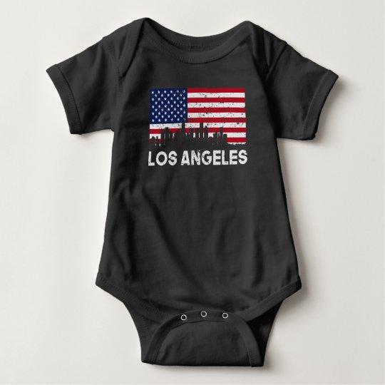 Los Angeles CA American Flag Skyline Distressed Baby Bodysuit