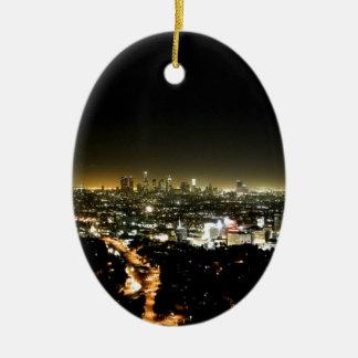 Los Angeles, CA Beautiful Nighttime Ceramic Oval Decoration