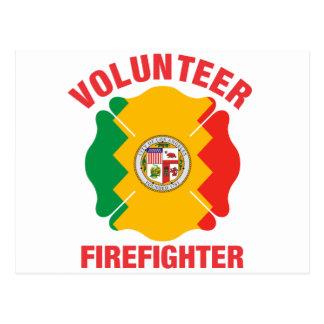 Los Angeles, CA Flag Volunteer Firefighter Cross Post Card