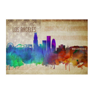 Los Angeles, CA | Watercolor City Skyline Acrylic Print