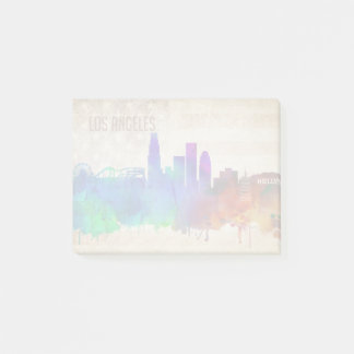 Los Angeles, CA | Watercolor City Skyline Post-it Notes