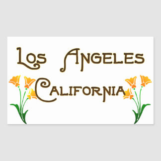 Los Angeles California Art Deco Poppies Logo Rectangular Sticker