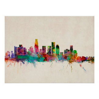Los Angeles California Cityscape Skyline Poster