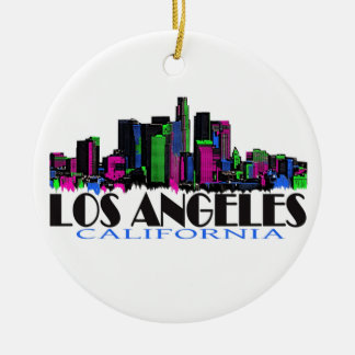 Los Angeles California neon skyline Ceramic Ornament