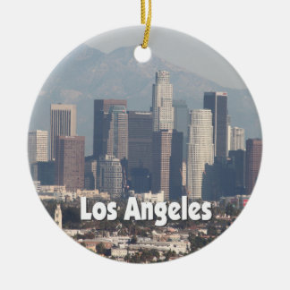 Los Angeles California Skyline Ceramic Ornament