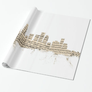 Los Angeles California Skyline Sheet Music Citysca Wrapping Paper
