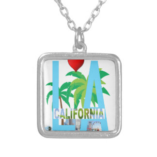 los angeles  l a california city usa america silver plated necklace