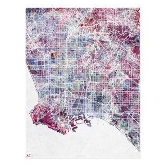 Los Angeles map California watercolor painting Postcard