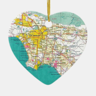 Los Angeles Map Ceramic Ornament