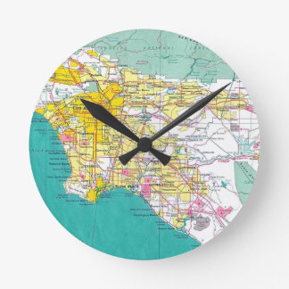 Los Angeles Map Round Clock