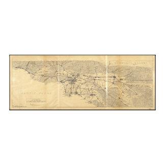 Los Angeles & San Gabriel Mountains Map (1915) Canvas Print