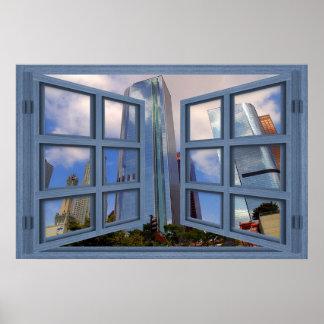 Los Angeles Skyline Blue 6 Pane Open Window Poster