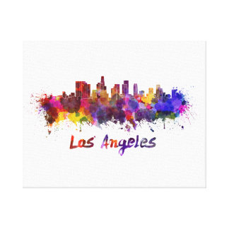 Los Angeles skyline in watercolor Canvas Print