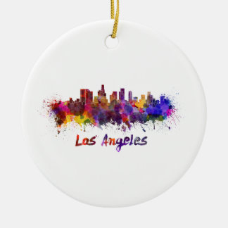 Los Angeles skyline in watercolor Ceramic Ornament