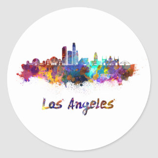 Los Angeles skyline in watercolor Classic Round Sticker