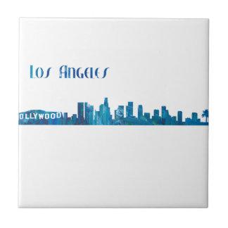 Los Angeles Skyline Silhouette Ceramic Tile