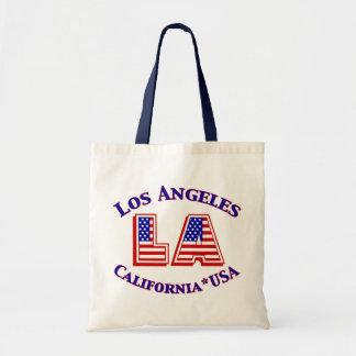 Los Angeles USA Patriotic Canvas Tote Budget Tote Bag