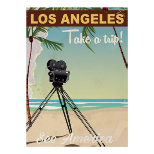 Los angeles vintage camera beach travel poster