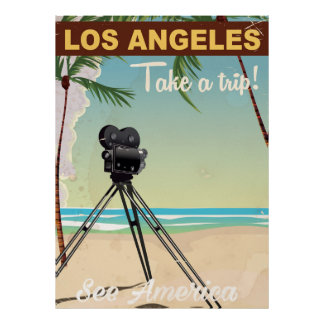 Los angeles vintage camera beach travel poster