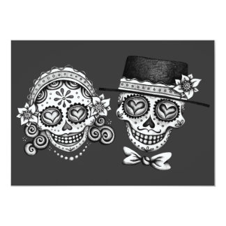 """Los Novios Day of the Dead Invitations 5"""" X 7"""" Invitation Card"""