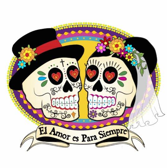 Los Novios Sugar Skull Cake Topper (Spanish) Standing Photo Sculpture