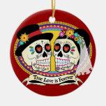 Los Novios Sugar Skull Ornament (English)