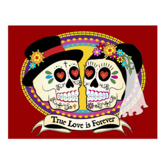 Los Novios Sugar Skull Postcard (English)