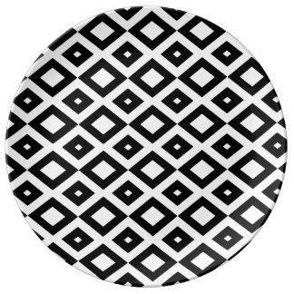 Losango Black Plate Porcelain