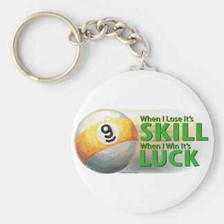 Lose Skill Win Luck 9 Ball Key Chains