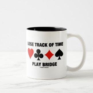 Lose Track Of Time Play Bridge (Card Suits) Two-Tone Coffee Mug