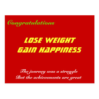 lose weight gain happiness postcard